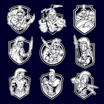 Emblema del logo mascotte guerriero spartano