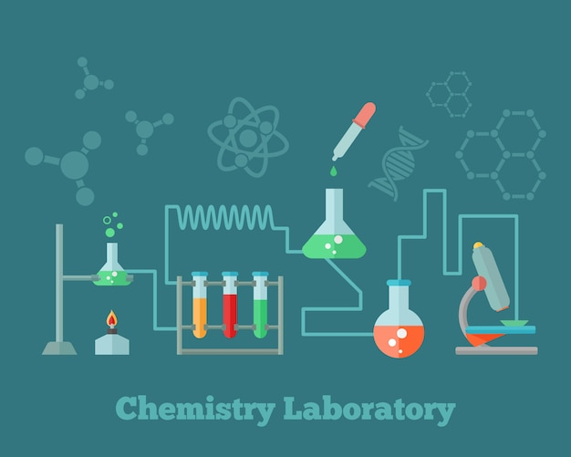 Emblema del microscopio dell'attrezzatura di laboratorio di ricerca di istruzione di chimica