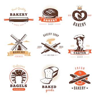 Emblema del negozio di panetteria impostato con le migliori descrizioni di prodotti da forno per esempio