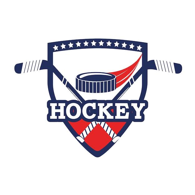 Emblema dell'hockey con attrezzatura da puck e bastoni
