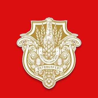 Emblema dell'oktoberfest di disegno a mano