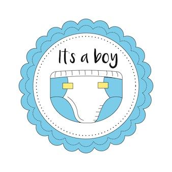 Emblema della baby shower per dare il benvenuto a un ragazzo