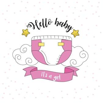 Emblema della baby shower per dare il benvenuto a una ragazza