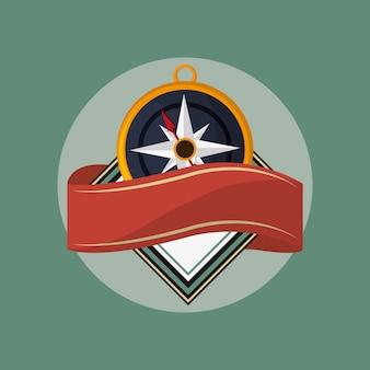 Emblema della bussola con l'immagine della bandiera