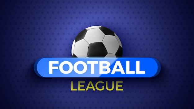 Emblema della lega di calcio con pallone da calcio. illustrazione.