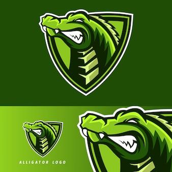 Emblema della mascotte di gioco esportatore di alligatore