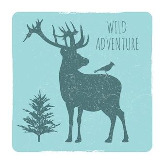 Emblema di avventure nella foresta selvaggia con silhouette di cervi e uccelli