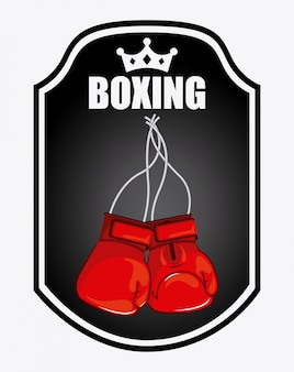 Emblema di boxe logo design grafico