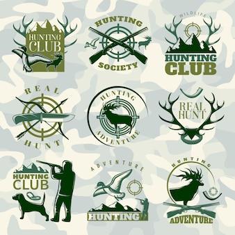 Emblema di caccia colorato con società di caccia del club di caccia e descrizioni di caccia reali