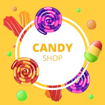 Emblema di candy shop su yellow