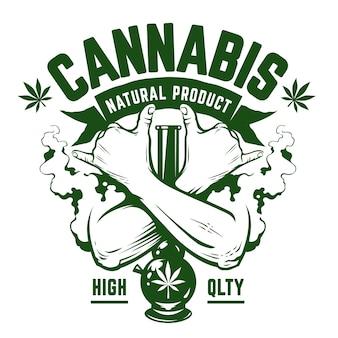 Emblema di cannabis. emblema monocromatico verde con mani incrociate, bong e fumo su bianco. simboli rastaman. arte vettoriale.