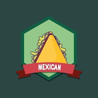 Emblema di cibo messicano con quesadillas su sfondo verde, design colorato. illustrazione vettoriale