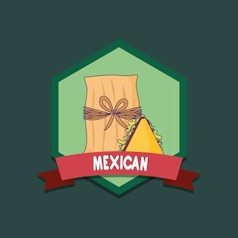 Emblema di cibo messicano con tamales e quesadillas su sfondo verde, design colorato. vettore illu