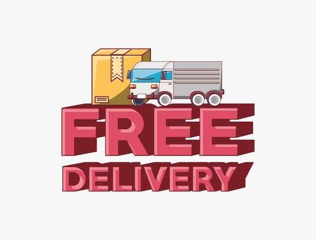 Emblema di consegna gratuita con icona di camion e scatola di carico