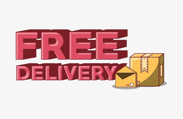 Emblema di consegna gratuita con scatola di cartone e busta