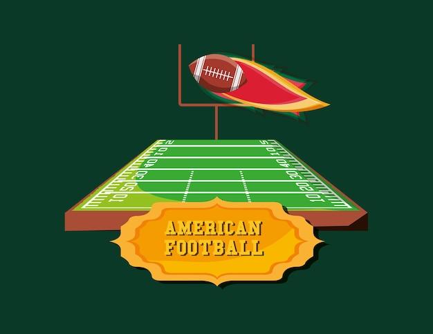 Emblema di football americano con campo e palla in fiamme