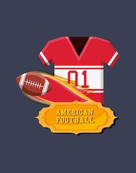 Emblema di football americano con jersey e palla in fiamme