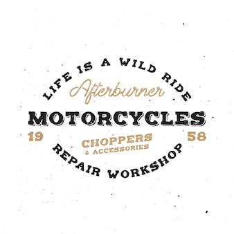 Emblema di moto retrò in stile vintage con effetto grunge. monogramma di vecchia scuola sul tema della bici.
