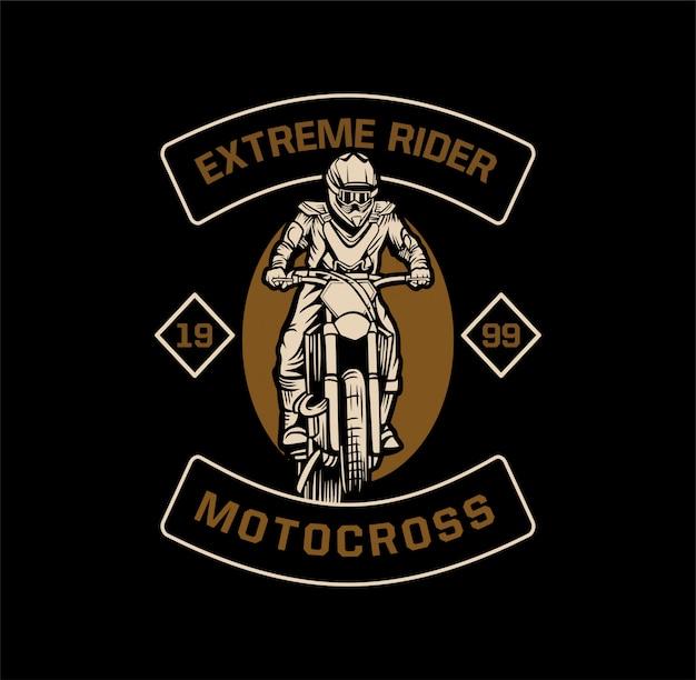 Emblema di motocross pilota estremo