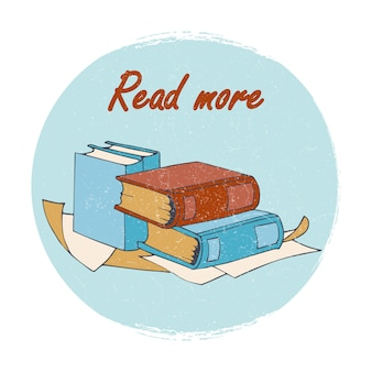 Emblema di negozio o biblioteca di libri - leggi più banner