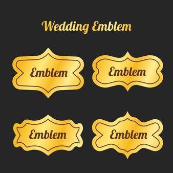 Emblema di nozze d'oro per invito o decorazione