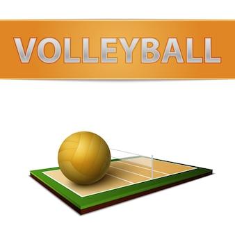 Emblema di palla e campo di pallavolo
