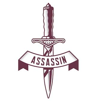 Emblema di pugnale con nastro su sfondo bianco. illustrazione vettoriale del tatuaggio.