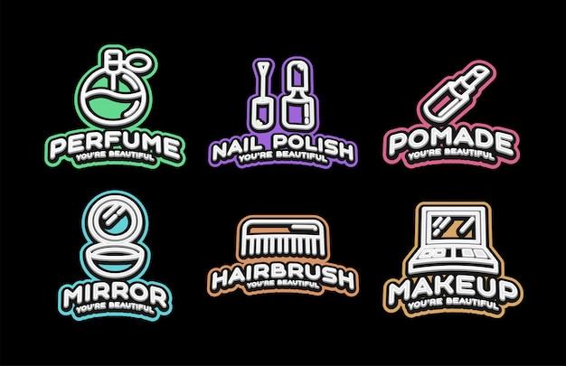 Emblema di tipografia sport stile super eroe con icona cosmetica di bellezza.