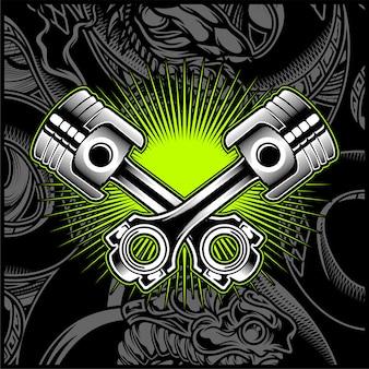 Emblema in bianco e nero del pistone del motociclo trasversale