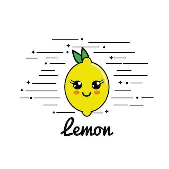 Emblema kawaii icona di limone felice