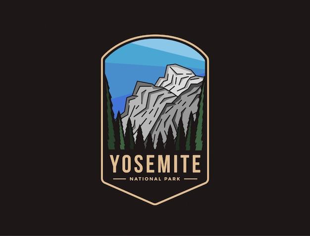 Emblema logo patch illustrazione del parco nazionale di yosemite