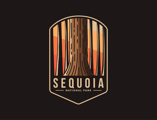 Emblema logo patch illustrazione del sequoia national park