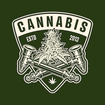 Emblema monocromatico di cannabis