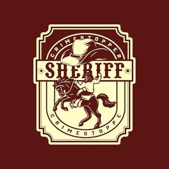 Emblema monocromatico vintage del selvaggio west