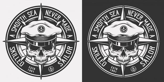 Emblema nautico monocromatico vintage