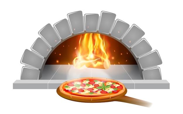 Emblema o etichetta dell'illustrazione della pizza del forno della pietra del mattone per il menu della pizzeria, isolato su fondo bianco