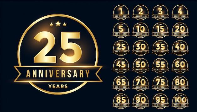Emblema premium anniversario d'oro impostato in stile linea