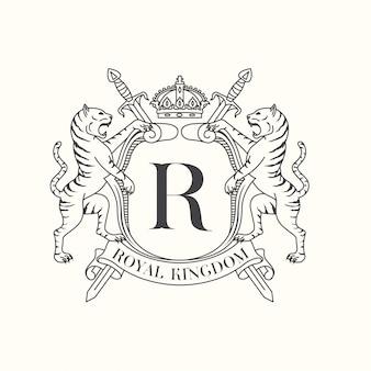 Emblema reale della tigre di coaf of arms