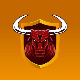 Emblema realistico mascotte di bufalo rosso