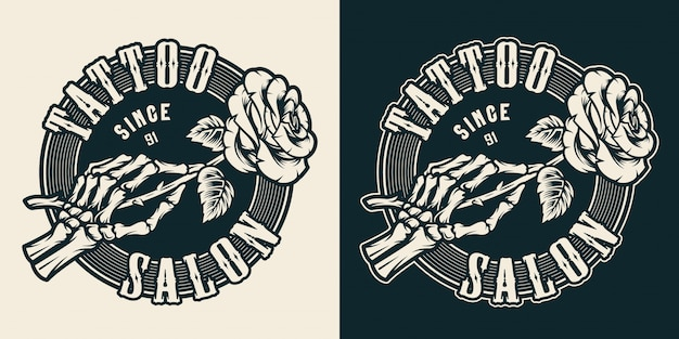 Emblema rotondo monocromatico dello studio del tatuaggio dell'annata