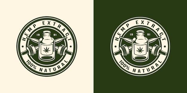 Emblema rotondo vintage bianco e nero di cannabis