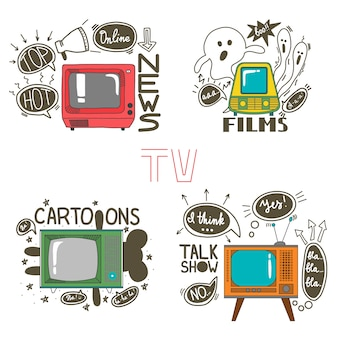 Emblema set per cartoons news film talk show