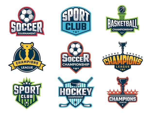 Emblema sportivo, loghi e adesivi per la competizione di super coppe del mondo
