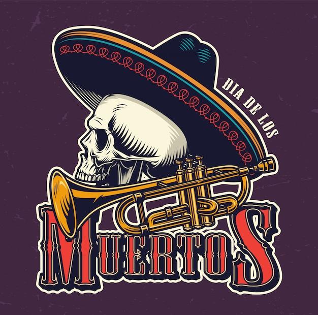 Emblema vintage di dia de los muertos