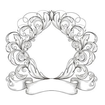 Emblema vintage retrò, cartiglio floreale. incisione cornice bordo vintage con retro ornamento in antico stile rococò design decorativo