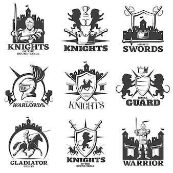 Emblemi bianchi neri dei cavalieri