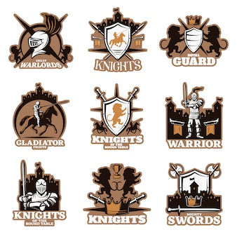 Emblemi colorati cavalieri