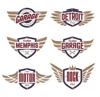 Emblemi con le ali impostate
