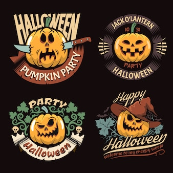 Emblemi con zucca di halloween