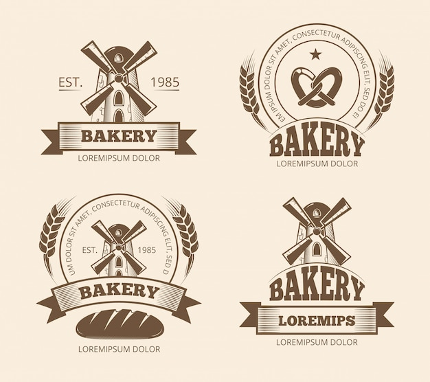 Emblemi d'annata dei distintivi delle etichette del logos del negozio di pane e del forno